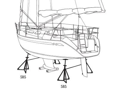 Bootstützen für eine Segelyacht